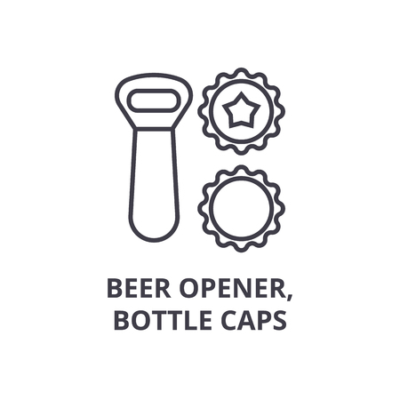Beer opener and bottle caps line icon. Illustration