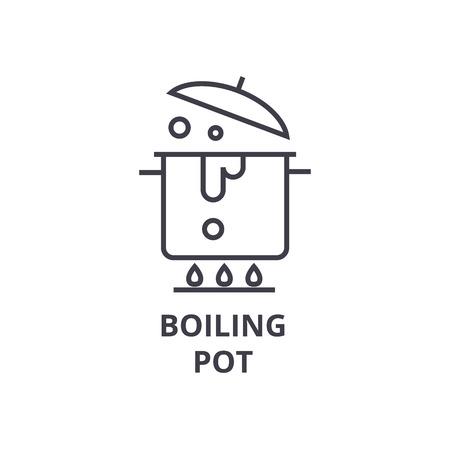 Boiling pot line icon.
