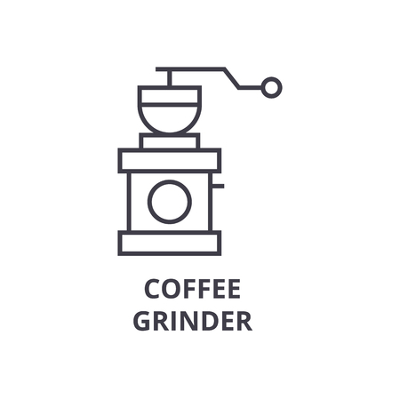 coffee grinder line icon, outline sign, linear symbol, flat vector illustration Illustration