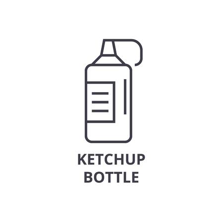 A ketchup bottle line icon, outline sign, linear symbol, flat vector illustration