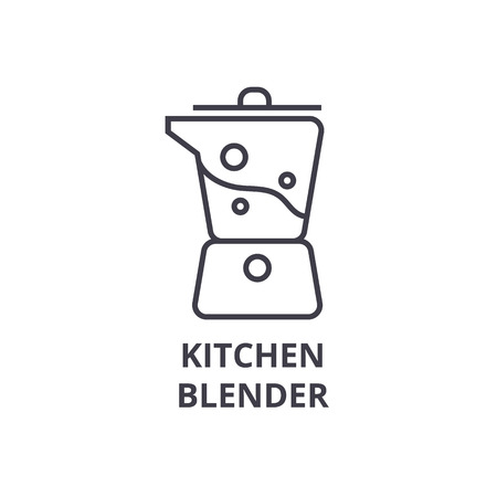 kitchen blender line icon, outline sign, linear symbol, flat vector illustration