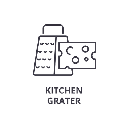 A kitchen grater line icon, outline sign, linear symbol, flat vector illustration