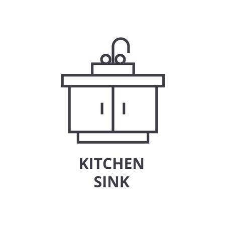 kitchen sink line icon, outline sign, linear symbol, flat vector illustration Иллюстрация