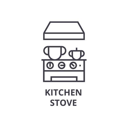 kitchen stove line icon, outline sign, linear symbol, flat vector illustration