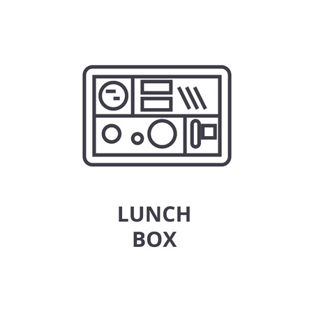 A lunch box line icon, outline sign, linear symbol, flat vector illustration