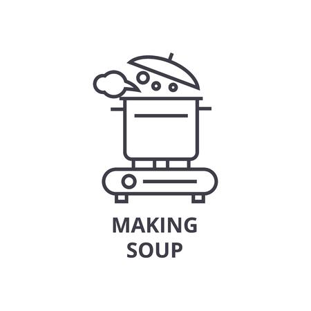 making soup line icon, outline sign, linear symbol, flat vector illustration Illustration