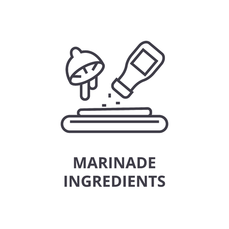 marinade ingredients line icon, outline sign, linear symbol, flat vector illustration