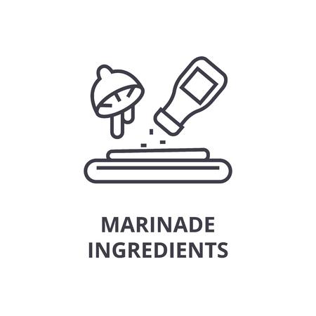 marinade ingredients line icon, outline sign, linear symbol, flat vector illustration