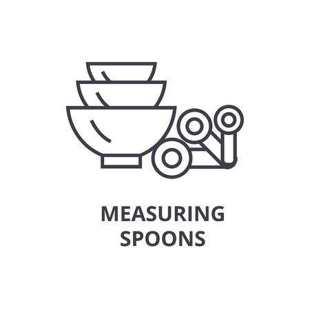 measuring spoons line icon, outline sign, linear symbol, flat vector illustration