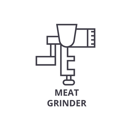 meat grinder line icon, outline sign, linear symbol, flat vector illustration