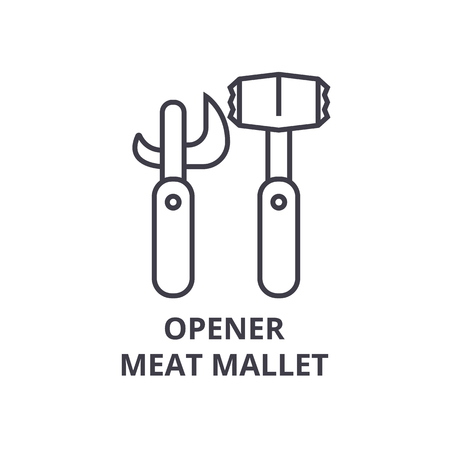 Opener meat mallet line icon.