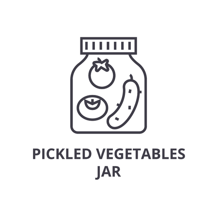 pickled vegetables jar line icon, outline sign, linear symbol, flat vector illustration Çizim