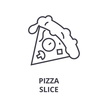 pizza slice line icon, outline sign, linear symbol, flat vector illustration Ilustracja