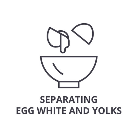 Separating egg white and yolks line icon. Ilustrace
