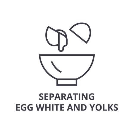 Separating egg white and yolks line icon. Illustration