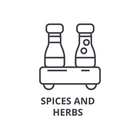 specerijen en kruiden lijn pictogram, overzichtsteken, lineair symbool, platte vectorillustratie Stock Illustratie