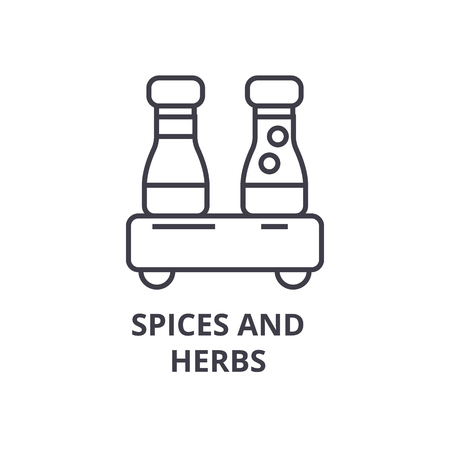 spices and herbs line icon, outline sign, linear symbol, flat vector illustration Çizim