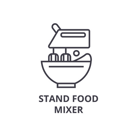 stand food mixer line icon, outline sign, linear symbol, flat vector illustration Иллюстрация
