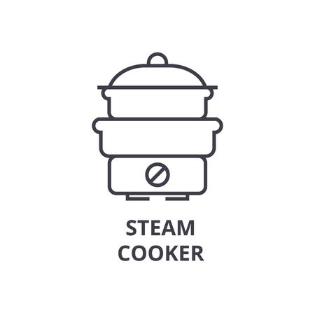 steam cooker line icon, outline sign, linear symbol, flat vector illustration Иллюстрация
