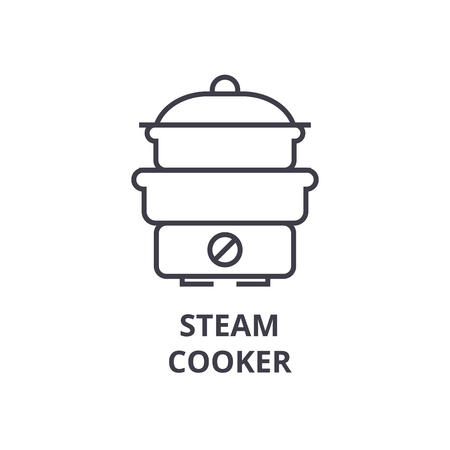 steam cooker line icon, outline sign, linear symbol, flat vector illustration Illustration