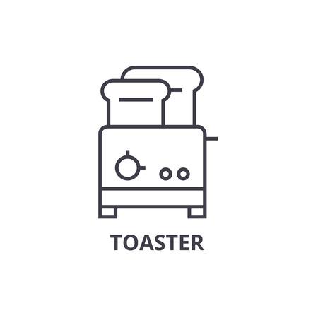 broodrooster lijn pictogram, overzichtsteken, lineair symbool, platte vectorillustratie