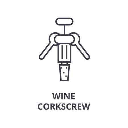 Wine corkscrew line icon. Illustration