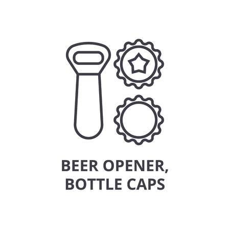 beer opener, bottle caps line icon, outline sign, linear symbol, flat vector illustration