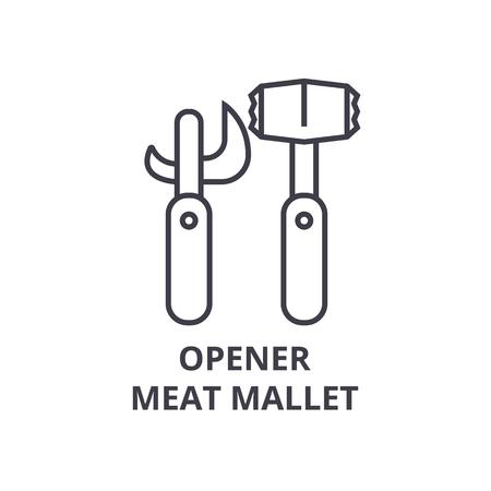 opener vlees hamer lijn pictogram, overzichtsteken, lineair symbool, platte vectorillustratie