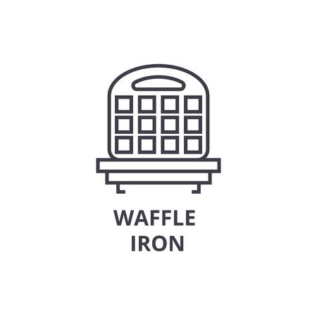 ワッフル アイロン線のアイコン、アウトライン記号、線形シンボル、フラットのベクトル図