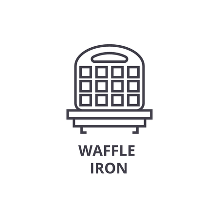 waffle iron line icon, outline sign, linear symbol, flat vector illustration Imagens