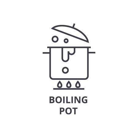 boiling pot line icon, outline sign, linear symbol, flat vector illustration