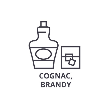 cognac, brandy line icon, outline sign, linear symbol, flat vector illustration Zdjęcie Seryjne - 91077001