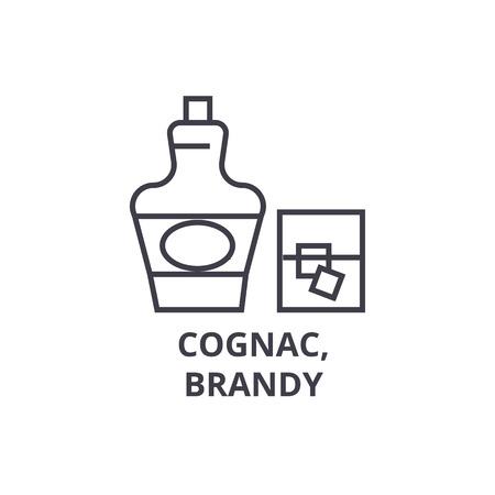 Cognac, icône de la ligne de brandy, signe de contour, symbole linéaire, illustration vectorielle plane Banque d'images - 91077001