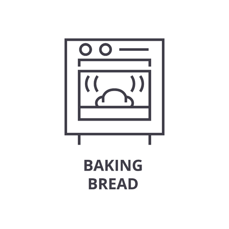 baking bread line icon, outline sign, linear symbol, flat vector illustration