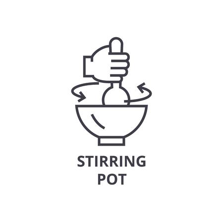 stirring pot line icon, outline sign, linear symbol, flat vector illustration
