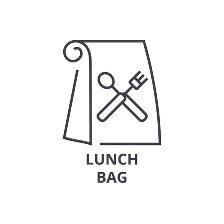 lunch bag line icon, outline sign, linear symbol, flat vector illustration