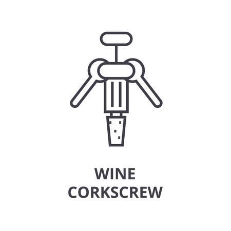 COne de linha de saca-rolhas de vinho, sinal de contorno, símbolo linear, ilustração vetorial plana Foto de archivo - 91077005