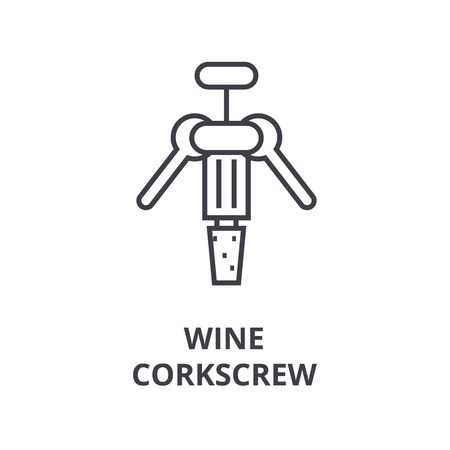 wine corkscrew line icon, outline sign, linear symbol, flat vector illustration Imagens