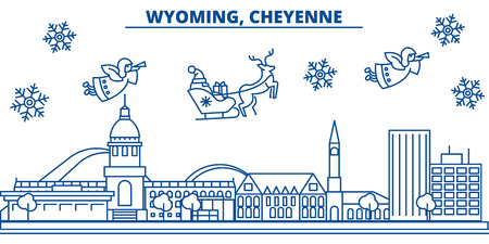 USA, Wyoming , Cheyenne  winter city skyline. Merry Christmas and Happy New Year decorated banner. Winter greeting card with snow and Santa Claus. Flat, line vector, linear christmas illustration Фото со стока