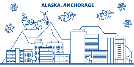 USA, Alaska, Anchorage  winter city skyline. Merry Christmas and Happy New Year decorated banner. Winter greeting card with snow and Santa Claus. Flat, line vector, linear christmas illustration Çizim