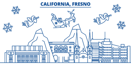 USA, Arizona, Fresno  winter city skyline. Merry Christmas and Happy New Year decorated banner. Winter greeting card with snow and Santa Claus. Flat, line vector, linear christmas illustration