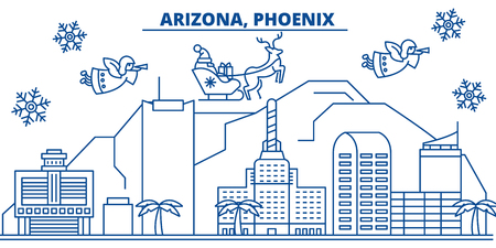 USA, Arizona, Phoenix  winter city skyline. Merry Christmas and Happy New Year decorated banner. Winter greeting card with snow and Santa Claus. Flat, line vector, linear christmas illustration 向量圖像