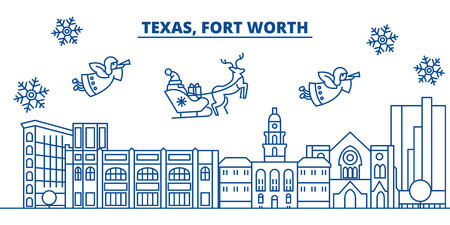 USA, California, Fort Worth  winter city skyline. Merry Christmas and Happy New Year decorated banner. Winter greeting card with snow and Santa Claus. Flat, line vector, linear christmas illustration Ilustração