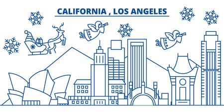 미국, 캘리포니아, 로스 앤젤레스 겨울 도시의 스카이 라인. 메리 크리스마스와 행복 한 새 해 장식 배너. 겨울 인사말 카드 눈과 산타 클로스. 플랫, 라 일러스트