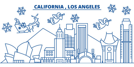 USA, California, Los Angeles  winter city skyline. Merry Christmas and Happy New Year decorated banner. Winter greeting card with snow and Santa Claus. Flat, line vector, linear christmas illustration Illustration