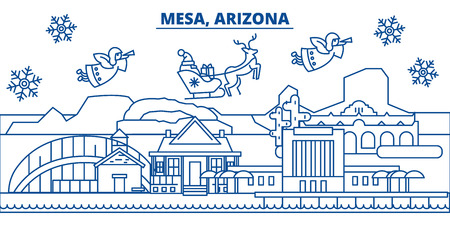 USA, Arizona, Mesa  winter city skyline. Merry Christmas and Happy New Year decorated banner. Winter greeting card with snow and Santa Claus. Flat, line vector, linear christmas illustration