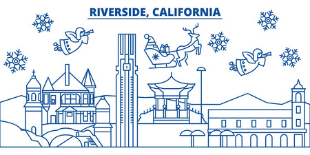 USA, California, Riverside  winter city skyline. Merry Christmas and Happy New Year decorated banner. Winter greeting card with snow and Santa Claus. Flat, line vector, linear christmas illustration