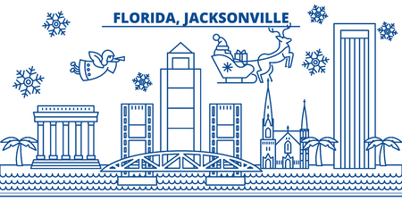 USA, Jacksonville winter city skyline. Merry Christmas and Happy New Year decorated banner. Winter greeting card with snow and Santa Claus. Flat, line vector, linear christmas illustration