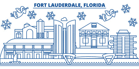 USA, Fort Lauderdale winter city skyline. Merry Christmas and Happy New Year decorated banner. Winter greeting card with snow and Santa Claus. Flat, line vector, linear christmas illustration