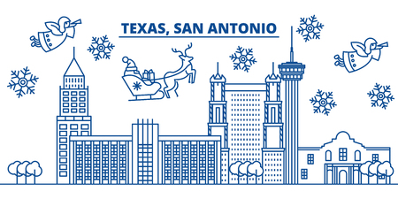 USA, California, San Antonio  winter city skyline. Merry Christmas and Happy New Year decorated banner. Winter greeting card with snow and Santa Claus. Flat, line vector, linear christmas illustration Illustration